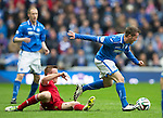 St Johnstone v Aberdeen...13.04.14    William Hill Scottish Cup Semi-Final, Ibrox<br /> Chirs Millar is tripped by Adam Rooney<br /> Picture by Graeme Hart.<br /> Copyright Perthshire Picture Agency<br /> Tel: 01738 623350  Mobile: 07990 594431