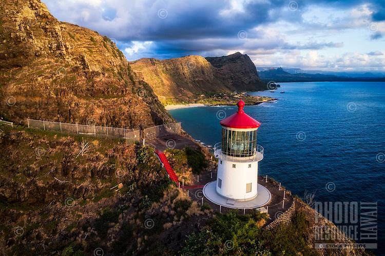 Sunrise over Makapu'u Lighthouse and the Ko'olau Range, Windward O'ahu.