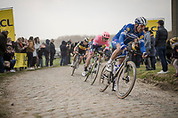 Philippe GILBERT (BEL/Deceuninck-Quick Step) wins his first Roubaix and is now 1 win away of having won ALL 5 Monument Classics (Milano-Sanremo still missing from his list)<br /> <br /> 117th Paris-Roubaix 2019 (1.UWT)<br /> One day race from Compiègne to Roubaix (FRA/257km)<br /> <br /> ©kramon