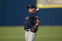 Nick Yorke (3) of the Salem Red Sox warms up in the outfield prior to the game against the Kannapolis Cannon Ballers at Atrium Health Ballpark on July 30, 2021 in Kannapolis, North Carolina. (Brian Westerholt/Four Seam Images)