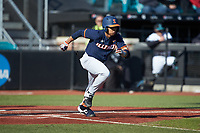 TaylorJackson (15) of the Illinois Fighting Illini starts down the first base line against the Coastal Carolina Chanticleers at Springs Brooks Stadium on February 22, 2020 in Conway, South Carolina. The Fighting Illini defeated the Chanticleers 5-2. (Brian Westerholt/Four Seam Images)