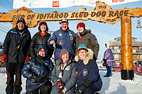 The drug testing team (AKA P-Team) poses for a group photo at the finish line in Nome during the 2017 Iditarod on Thursday March 16, 2017.<br /> <br /> Photo by Jeff Schultz/SchultzPhoto.com  (C) 2017  ALL RIGHTS RESERVED