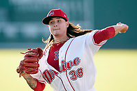 Starting pitcher Jeremy Wu-Yelland (38) of the Greenville Drive struck out nine in five no-hit innings for his first win in his High-A debut against the Asheville Tourists on Thursday, September 2, 2021, at Fluor Field at the West End in Greenville, South Carolina. (Tom Priddy/Four Seam Images)