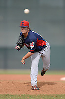 Cleveland Indians pitcher Sean Brady (34) during an Instructional League game against the Kansas City Royals on October 9, 2013 at Surprise Stadium Training Complex in Surprise, Arizona.  (Mike Janes/Four Seam Images)