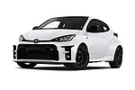 Stock pictures of low aggressive front three quarter view of 2021 Toyota Yaris GR 3 Door Hatchback Low Aggressive