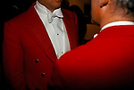 Master of the Foxhounds MFH  chatting Warwickshire Hunt Ball celebrating the end of fox hunting season. Tysoe Manor Tysoe 1982 1980s UK