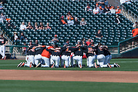 The Oregon State Beavers huddle before a game against the Gonzaga Bulldogs on February 16, 2019 at Surprise Stadium in Surprise, Arizona. (Zachary Lucy/Four Seam Images)