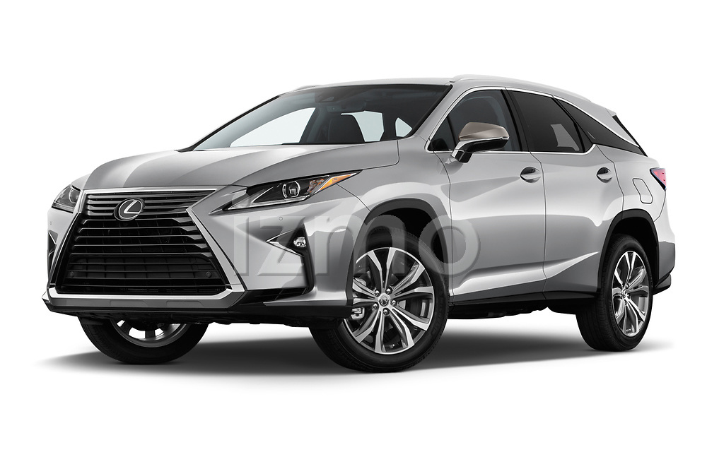 Stock pictures of low aggressive front three quarter view of a 2017 Lexus RX 350 L 5 Door SUV