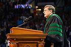 May 19, 2019; Rev. James Foster, C.S.C. leads the singing of the Alma Mater at the 2019 Notre Dame Commencement ceremony. (Photo by Matt Cashore/University of Notre Dame)