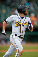 Montgomery Biscuits Brett Sullivan (8) runs to first base during a Southern League game against the Mobile BayBears on May 2, 2019 at Riverwalk Stadium in Montgomery, Alabama.  Mobile defeated Montgomery 3-1.  (Mike Janes/Four Seam Images)