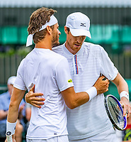 London, England, 6 July, 2019, Tennis,  Wimbledon, Men's doubles: Marcus Daniell (DEN)) and Wesley Koolhof (NED) (L) celebrate their win<br /> Photo: Henk Koster/tennisimages.com