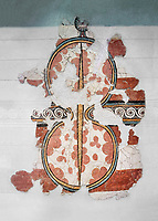 The 'figure of eight shield'  Mycenaean fresco wall painting, Mycenae, Greece Cat No 11672. National Archaeological Museum, Athens. <br /> <br /> The Mycenaean 'figure of eight shield' were originaly made of cows hide and was the symbol of a goddess of war.