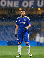Jay DaSilva of Chelsea U18 as snow falls during the FA Youth Cup FINAL match between Chelsea U18 and Man City U18 at Stamford Bridge, London, England on 27 April 2016. Photo by Andy Rowland.