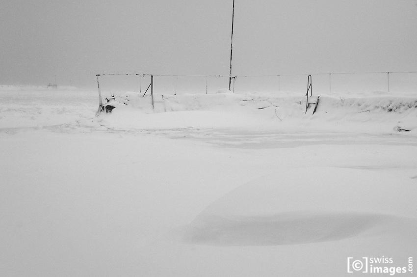 View of frozen Lac-de-Joux