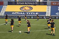 HERRIMAN, UT - JULY 8: Utah Royals FC warms up during a game between OL Reign and Utah Royals FC at Zions Bank Stadium on July 8, 2020 in Herriman, Utah.