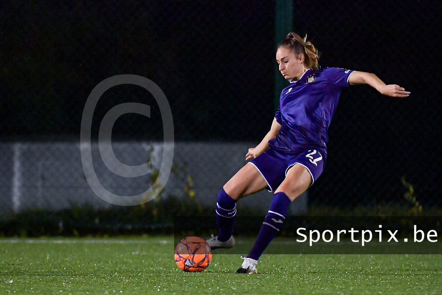 Anderlecht Tessa Wullaert (27) pictured during a female soccer game between RSC Anderlecht Dames and Eendracht Aalst Ladies  on the fourth matchday of the 2020 - 2021 season of Belgian Womens Super League , Tuesday 13 th of October 2020  in ANDERLECHT , Belgium . PHOTO SPORTPIX.BE | SPP | STIJN AUDOOREN