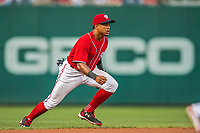 29 July 2017: Washington Nationals infielder Wilmer Difo in action against the Colorado Rockies at Nationals Park in Washington, DC. The Rockies defeated the Nationals 4-2 in the first game of their 3-game weekend series. Mandatory Credit: Ed Wolfstein Photo *** RAW (NEF) Image File Available ***