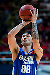 Lau Tsz Lai #88 of Eastern Long Lions concentrates prior to a free throw during the Hong Kong Basketball League playoff game between SCAA and Eastern Long Lions at Queen Elizabeth Stadium on July 27, 2018 in Hong Kong. Photo by Yu Chun Christopher Wong / Power Sport Images