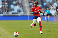 SAINT PAUL, MN - MAY 15: Jader Obrian #7 of FC Dallas during a game between FC Dallas and Minnesota United FC at Allianz Field on May 15, 2021 in Saint Paul, Minnesota.