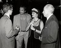 Pierre Trudeau and son talk with Claude dubois and wife Louise Marleau,Festival des Films du Monde 1998