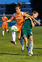 Sky Blue FC defender Keeley Dowling (17) battles for the ball with Saint Louis Athletica midfielder Lori Chalupny (17) during a WPS match at Anheuser-Busch Soccer Park, in St. Louis, MO, July 22, 2009. Athletica won the match 1-0.
