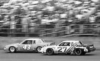 Ricahrd Petty (43) and Cale Yarborough (27) battle for position during the Daytona 500, Daytona International Speedway, Daytona Beach, FL, February 15, 1981.  (Photo by Brian Cleary/www.bcpix.com)