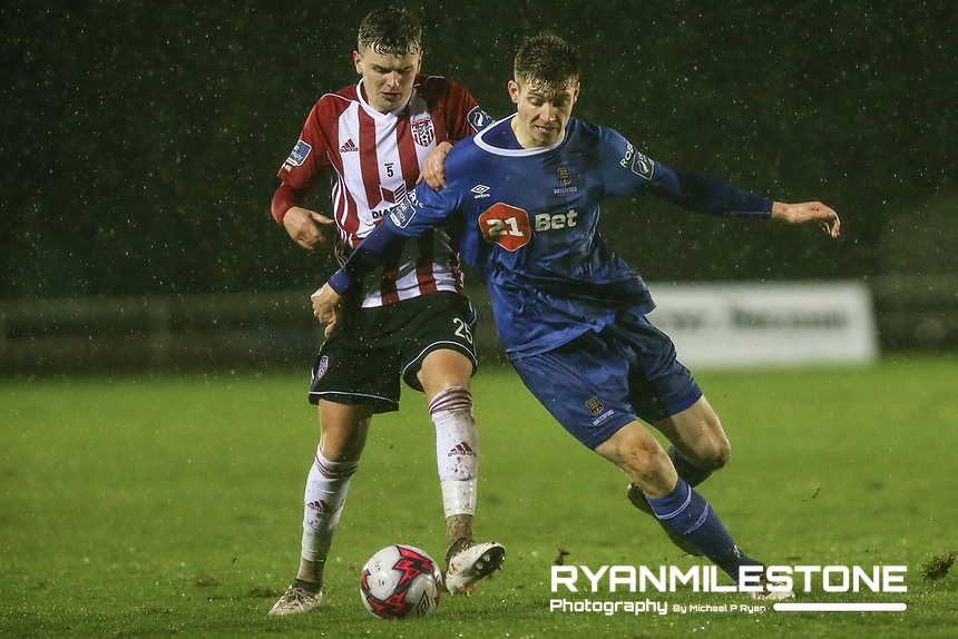 Ronan Hale in action against Waterford's Rory Feely  during the SSE Airtricity League Premier Division game between Waterford FC and Derry City on Friday 16th February 2018 at the RSC Waterford. Photo By: Michael P Ryan