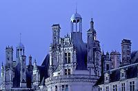 Chambord, Loire Valley, Loire Castle Region, France, castle, Loir-et-Cher, Centre, Europe, The Renaissance Chateau of Chambord in the evening. Largest of all the castles in the Loire Valley.