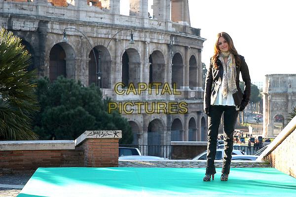 "RACHEL BILSON.Photocall for ""Jumper"", Rome, Italy..February 6th, 2008.full length black jacket pattern print scarf jeans denim.CAP/CAV.©Luca Cavallari/Capital Pictures."