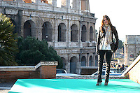 "RACHEL BILSON.Photocall for ""Jumper"", Rome, Italy..February 6th, 2008.full length black jacket pattern print scarf jeans denim.CAP/CAV.©Luca Cavallari/Capital Pictures."