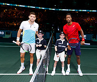 Rotterdam, The Netherlands, 15 Februari 2020, ABNAMRO World Tennis Tournament, Ahoy,<br /> Gaël Monfils (FRA), Filip Krajinovic (SRB).<br /> Photo: www.tennisimages.com