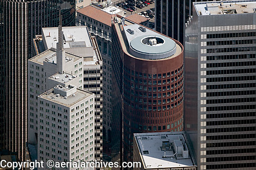 aerial photograph of 388 Market Street also known as One Pine Street, with 345 California Center at the left, Shaklee Terraces, One Front Street at the right, San Francisco, California