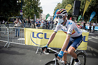 spanish national champion Alejandro Valverde (ESP/Movistar) at the race start in Clermont-Ferrand<br /> <br /> Stage 1: Clermont-Ferrand to Saint-Christo-en-Jarez (218km)<br /> 72st Critérium du Dauphiné 2020 (2.UWT)<br /> <br /> ©kramon