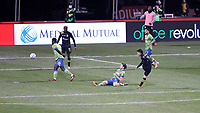 COLUMBUS, OH - DECEMBER 12: Lucas Zelarayan #10 of the Columbus Crew scores the game's third goal during a game between Seattle Sounders FC and Columbus Crew at MAPFRE Stadium on December 12, 2020 in Columbus, Ohio.