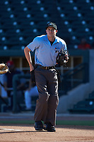 Home plate umpire Nolan Early works the South Atlantic League game between the Rome Braves and the Columbia Fireflies at Segra Park on May 13, 2019 in Columbia, South Carolina. The Fireflies walked-off the Braves 2-1 in game one of a doubleheader. (Brian Westerholt/Four Seam Images)