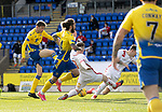 St Johnstone v Brechin City…10.10.20   McDiarmid Park  Betfred Cup<br />Murray Davidson shot is blocked by Kieran Inglis and Ross Brown<br />Picture by Graeme Hart.<br />Copyright Perthshire Picture Agency<br />Tel: 01738 623350  Mobile: 07990 594431