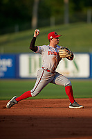 Florida Fire Frogs shortstop Riley Unroe (7) throws to first base during a Florida State League game against the St. Lucie Mets on April 12, 2019 at First Data Field in St. Lucie, Florida.  Florida defeated St. Lucie 10-7.  (Mike Janes/Four Seam Images)