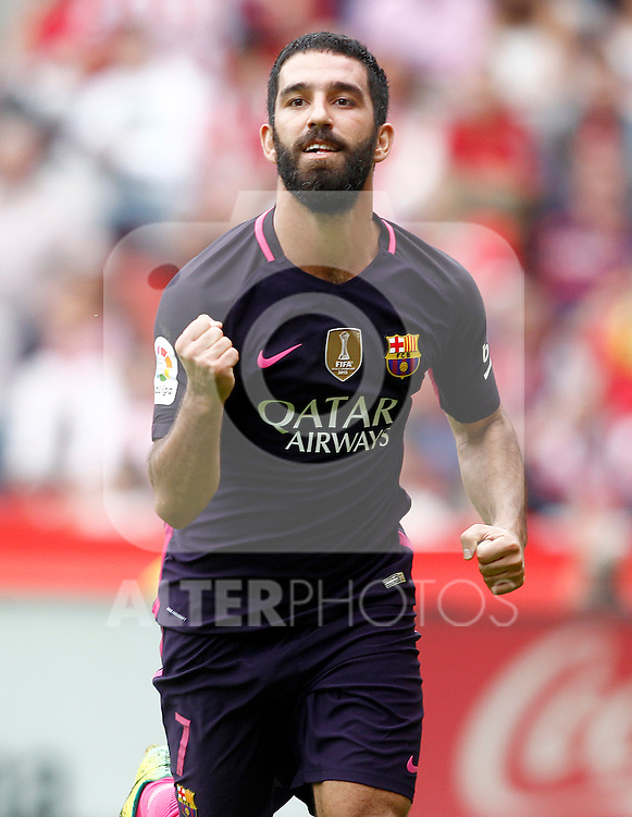 FC Barcelona's Arda Turan celebrates goal during La Liga match. September 24,2016. (ALTERPHOTOS/Acero)