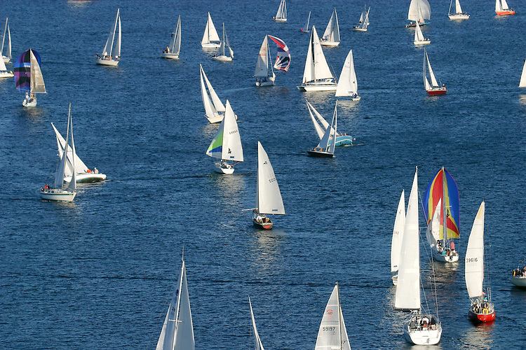 Seattle, Lake Union, sailboats racing, Duck Dodge race, race for all classes every summer on tuesday night in this urban lake, Washington State, Pacific Northwest, USA,.