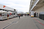 The paddock area all set up and ready to go before the Formula 1 United States Grand Prix practice session at the Circuit of the Americas race track in Austin,Texas.