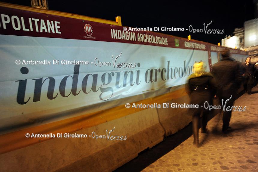 Piazza Venezia.Roma.Indagini archeologiche per i lavori della metropolitana.Archaeological survey for the work of the subway.