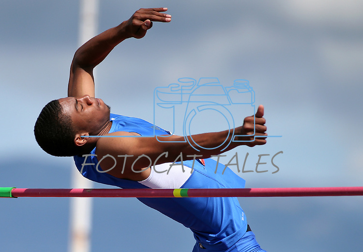 Bishop Gorman's Randall Cunningham won the state title in the boys high jump with a height of 6-foot, 11-inches in the NIAA state track and field championships at Carson High, in Carson City, Nev., on Friday, May 23, 2014. (Las Vegas Review-Journal, Cathleen Allison)