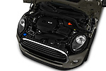 Car stock 2019 Mini mini Cooper 3 Door Hatchback engine high angle detail view