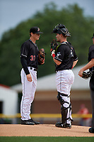 Batavia Muckdogs pitcher Jackson Rose (37) and catcher Gunner Pollman (7) during a NY-Penn League game against the Williamsport Crosscutters on August 27, 2019 at Dwyer Stadium in Batavia, New York.  Williamsport defeated Batavia 11-4.  (Mike Janes/Four Seam Images)