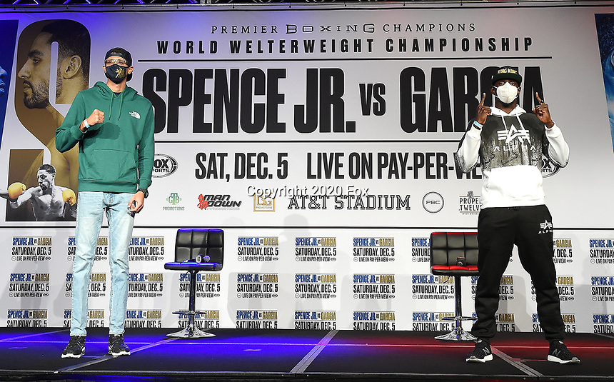 DALLAS, TX - DECEMBER 3: (L-R)  Sebastian Fundora and Habib Ahmed attend the undercard press conference for the Errol Spence Jr. vs Danny Garcia December 5, 2020 Fox Sports PBC Pay-Per-View title fight at AT&T Stadium in Arlington, Texas. (Photo by Frank Micelotta/Fox Sports)
