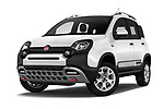 Stock pictures of low aggressive front three quarter view of 2017 Fiat Panda Cross 5 Door SUV Low Aggressive