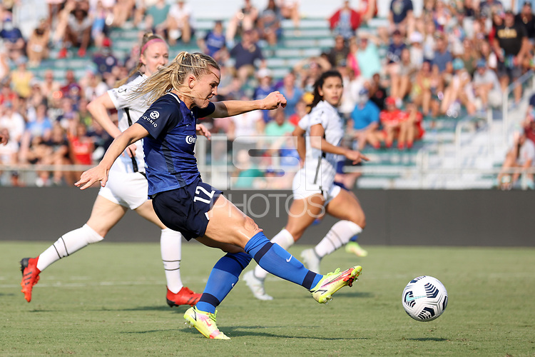 CARY, NC - SEPTEMBER 12: Amy Rodriguez #12 of the North Carolina Courage takes a shot during a game between Portland Thorns FC and North Carolina Courage at Sahlen's Stadium at WakeMed Soccer Park on September 12, 2021 in Cary, North Carolina.