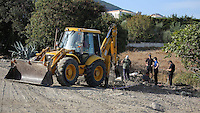 Pictured: Forensic archaeologists assisted by a digger work at the second site in Kos, Greece. Tuesday 11 October 2016<br />Re: Police teams led by South Yorkshire Police are searching for missing toddler Ben Needham on the Greek island of Kos.<br />Ben, from Sheffield, was 21 months old when he disappeared on 24 July 1991 during a family holiday.<br />Digging has begun at a new site after a fresh line of inquiry suggested he could have been crushed by a digger.