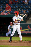 Springfield Cardinals second baseman Casey Turgeon (21) at bat during a game against the Corpus Christi Hooks on May 31, 2017 at Hammons Field in Springfield, Missouri.  Springfield defeated Corpus Christi 5-4.  (Mike Janes/Four Seam Images)
