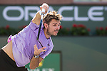 March 8, 2019: Stan Wawrinka (SUI) serves during his match where he defeated Daniel Evans (GBR) 6-7, 6-3, 6-3 at the BNP Paribas Open at the Indian Wells Tennis Garden in Indian Wells, California. ©Mal Taam/TennisClix/CSM